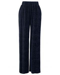 Embossed Velvet Wide-Leg Pants in Navy