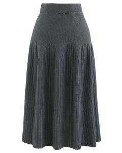 Radiant Lines Knit Midi Skirt in Grey