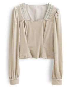Beads Square Neck Velvet Crop Top in Sand