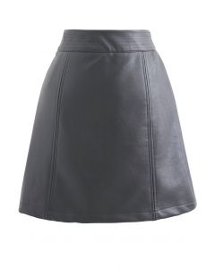 Seamed Waist Faux Leather Bud Mini Skirt in Grey