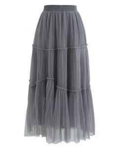 Soft Mesh Ruffle Detail Pleated Skirt in Grey