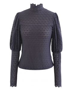 Full Lace Puff Sleeves Top in Navy