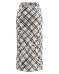 Wool-Blend Check Slit Pencil Skirt in Ivory