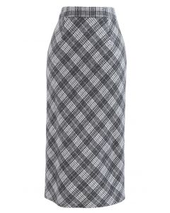 Wool-Blend Check Slit Pencil Skirt in Grey