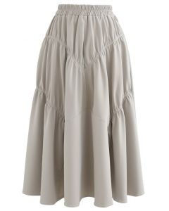 Faux Leather Elasticated Pleated Skirt in Ivory