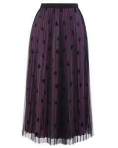 Mesh Overlay Heart Print Pleated Skirt in Violet