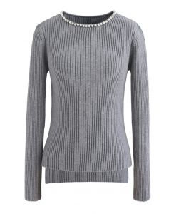 Pearl Neck Ribbed Hi-Lo Knit Sweater in Grey