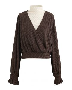 Lace Spliced Embossed Wrap Top in Brown