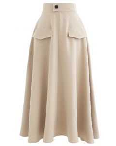 Dual Fake Pockets Buttoned Flare Skirt in Sand