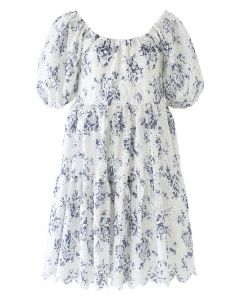 Scoop Neck Puff-Sleeve Floral Embroidered Dolly Dress