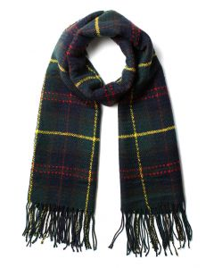 Scotland Check Fringe Scarf in Green