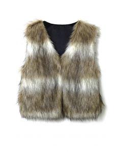 Faux Fur Cropped Vest in Striped Camel