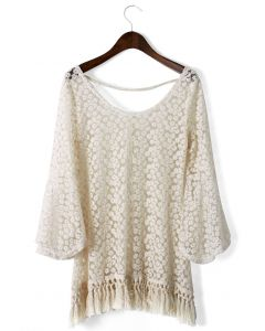 Daisy Floral Crochet Fringe Top