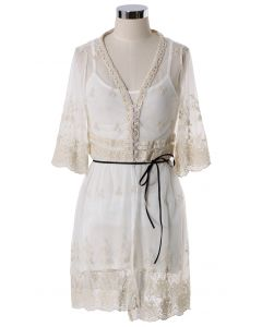 Floral Mesh Lace Smock
