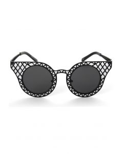 Cut Out Metal Frame Cat Eye Sunglasses