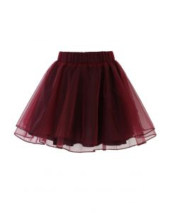 Organza Tulle Skirt in Wine