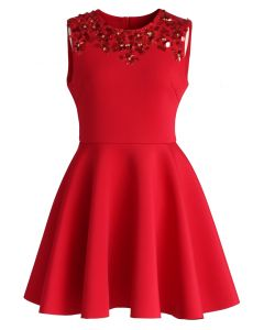 Enchanting Red Embellished Skater Dress