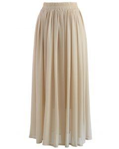Nude Chiffon Maxi Skirt