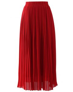 Chiffon Pleated Maxi Skirt in Red