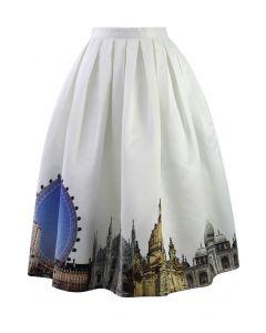Scenic Print Midi Skirt