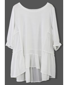 Cozy My Fav White Dolly Hi-Lo Top
