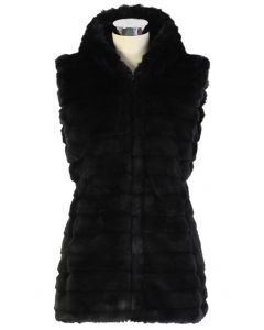 Chicwish Faux Fur Hooded Quilt Vest in Black