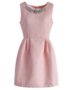 Crystal Clear Jacquard Dress in Candy Pink