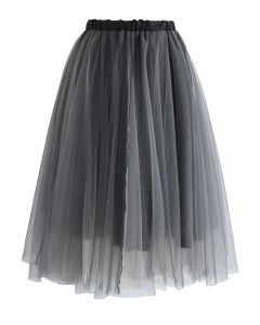Amore Mesh Tulle Skirt in Smoke
