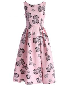 Rosette Banquet Jacquard Prom Dress