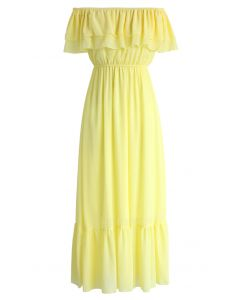 Blissful Frilling Off-shoulder Maxi Dress in Yellow