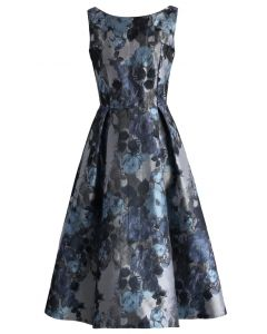 Floral Jacquard Sleeveless Midi Dress
