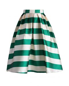 Scottish Green Striped Midi Skirt