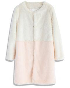 Contrast Allure Faux Fur Coat in Pink
