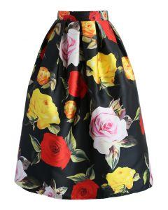 Florid Roses Printed Midi Skirt