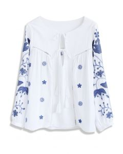 Boho Field Embroidered Smock Top