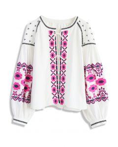 Blossomy Boho Embroidered Jacket