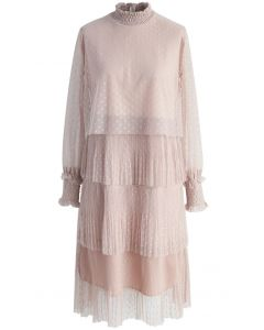 Luscious Polka Dots Mesh Tiered Dress in Pink