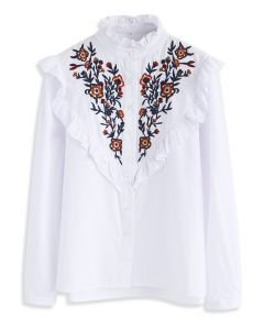 Retro Wildflower Embroidered Shirt in White