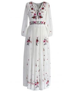 Wondrous Floral Embroidered Maxi Dress