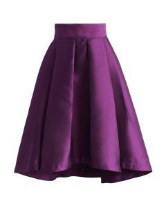 Purple Pleated Waterfall Skirt
