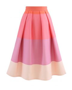 Lollipops Color Block Printed Midi Skirt