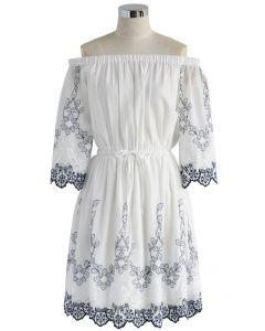 Flowery Boho Embroidered Off-shoulder Dress