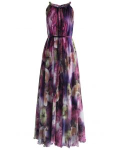 Mysterious Purple Floral Maxi Slip Dress