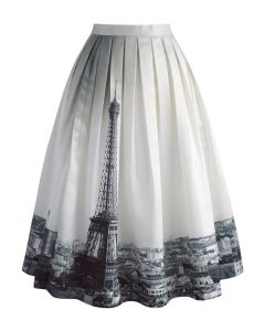 Eiffel Tower Dream Printed Midi Skirt