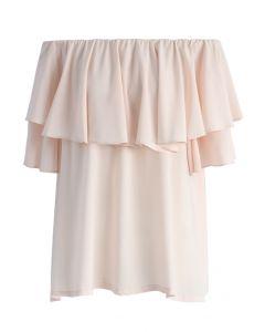 Soft Breeze Frilling Off-shoulder Top in Pink