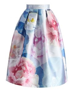 Bloom in Watercolor Printed Midi Skirt