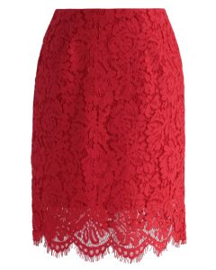 Concinnity Blossom Full lace Bud skirt in Red