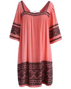 Boho Embroidery Square Neck String Dolly Dress