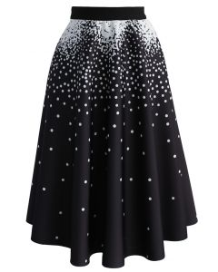 Falling Dots Airy A-line Skirt in Black