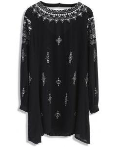Boho Evocation Embroidered Dress in Black